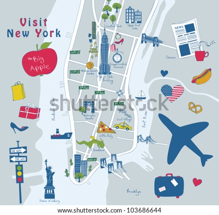 Map of New York sights - stock vector