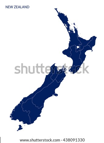 Map of New Zealand with regions.