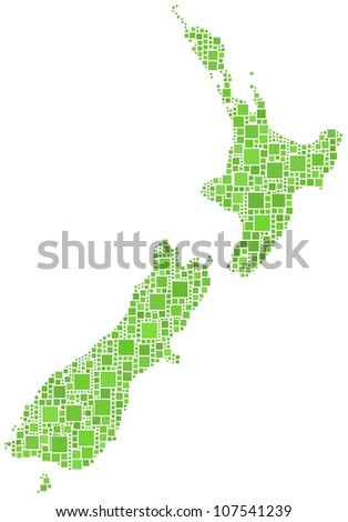Map of New Zeland in a mosaic of green squares