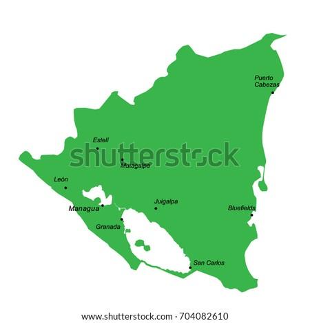 Nicaragua Region Map Stock Images RoyaltyFree Images Vectors - Nicaragua political map cities