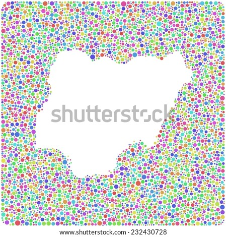 Map of Nigeria - Africa - into a square icon. Mosaic of harlequin bubbles