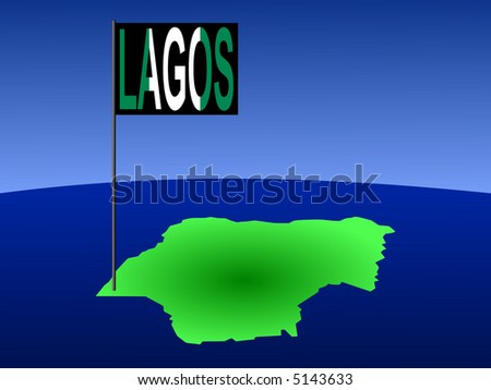 map of Nigeria with position of Lagos marked by flag pole illustration
