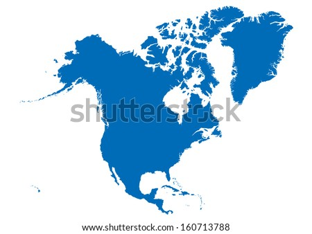map of north america- blue on white background - stock vector