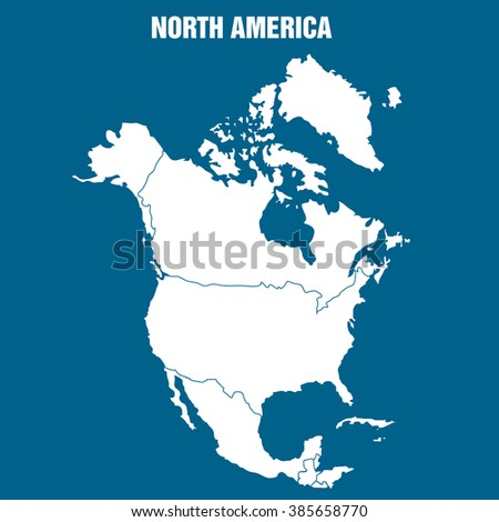 Map of North America Continent - Illustration - stock vector