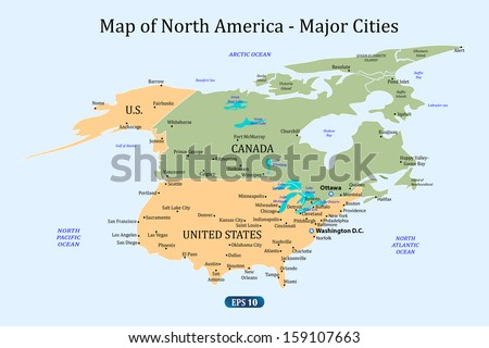 Map North America Major Cities Vector Stock Vector 159107663