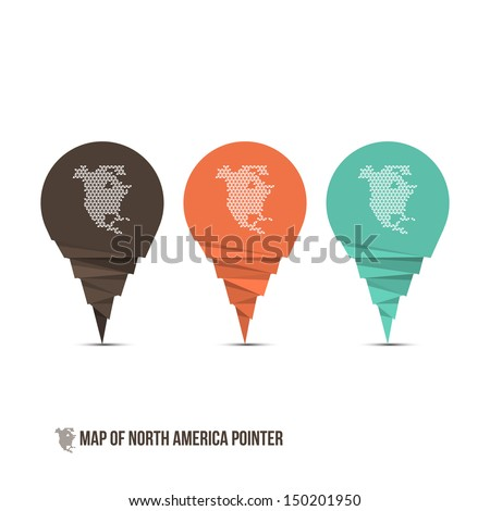 Map of North America Pointer - Vector Illustration - Infographic Element - stock vector