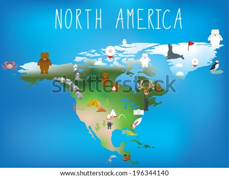 map of north america showing famous landmarks - stock vector