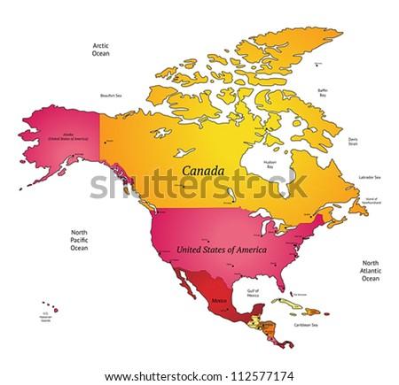 Map of North America. Vector illustration. - stock vector