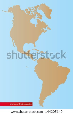Map of North and South America,Vector Illustration. - stock vector