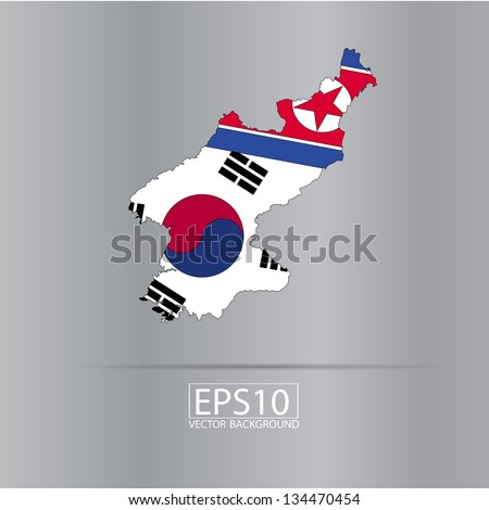 Map of North and South Korea with flag in vector art
