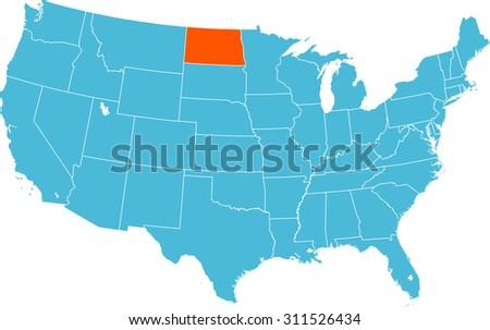map of North Dakota - stock vector
