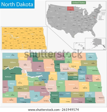 Map of North Dakota state designed in illustration with the counties and the county seats - stock vector
