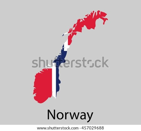 Map of Norway with flag. Vector illustration.
