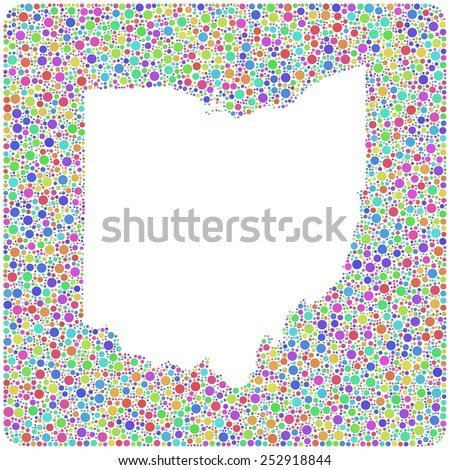 Map of Ohio - USA - in a mosaic of harlequin circles. White background - stock vector