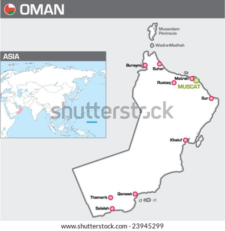 Map of Oman - stock vector