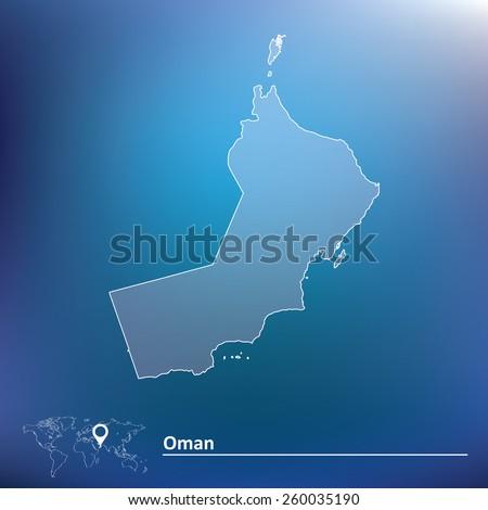 Map of Oman - vector illustration - stock vector