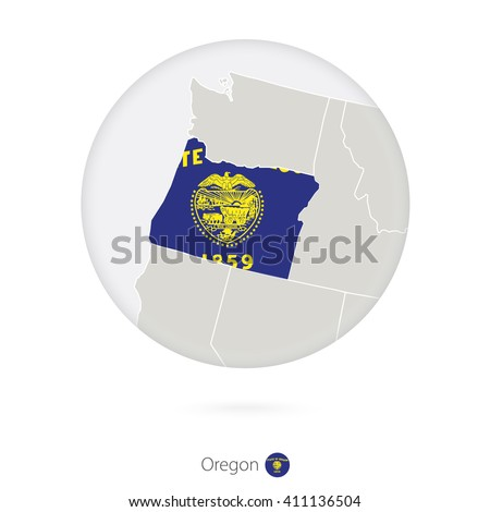 Map Of Oregon State And Flag In A Circle Oregon Us State Map Contour With