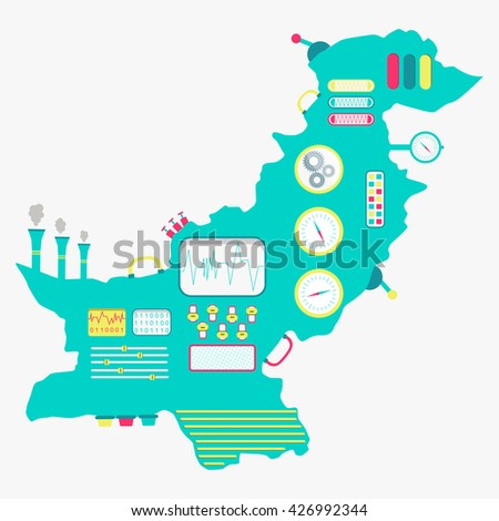 Map of Pakistan machine. Map of Pakistan like a cute machine with buttons, panels and levers. Isolated. White background. - stock vector