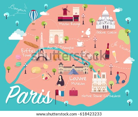 map of paris attractions vector and illustration