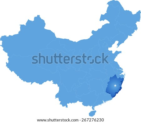 Map of People's Republic of China where Fujian province is pulled out - stock vector