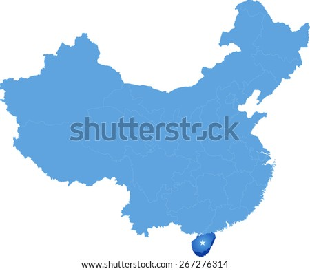 Map of People's Republic of China where Hainan province is pulled out - stock vector