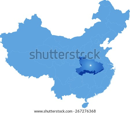 Map of People's Republic of China where Hubei province is pulled out - stock vector