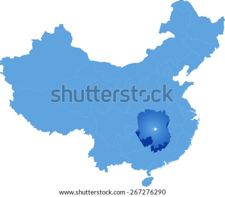 Map of People's Republic of China where Hunan province is pulled out - stock vector