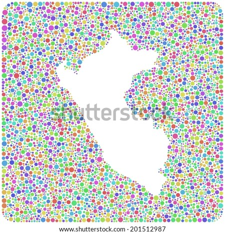 Map of Peru - Latin America - into a square icon. Mosaic of colored little circles.