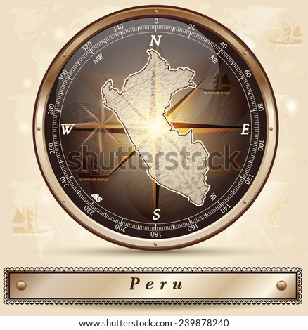Map of Peru with borders in bronze - stock vector