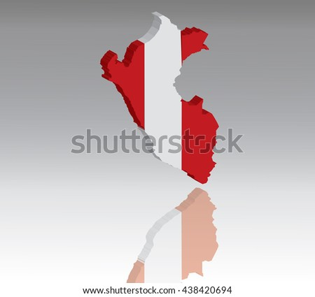 Map of Peru with flag 3D, silhouette, reflection, EPS10 vector