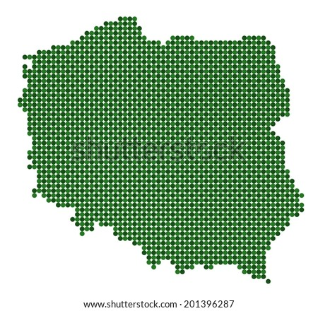 Map of Poland made from green dots (vector)