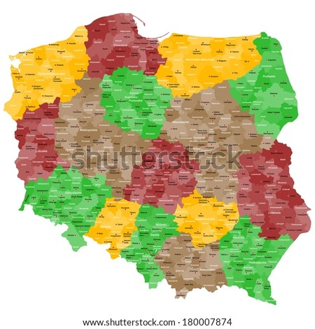 Map of Poland with many details, counties and cities. - stock vector