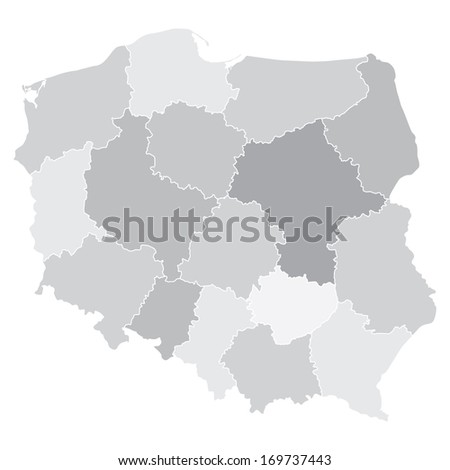 map of Poland with voivodships (vector illustration)