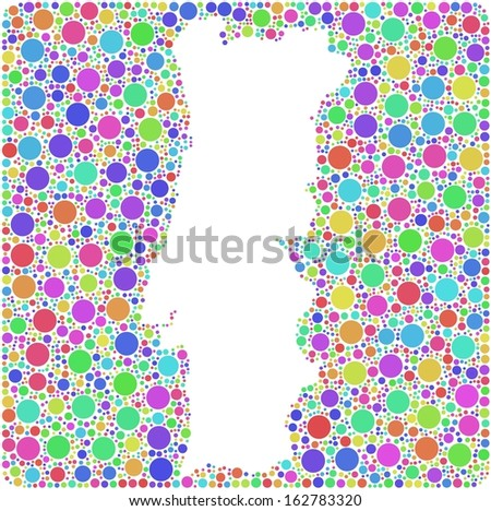 Map of Portugal - Europe - into a square colored icon. Mosaic of harlequin bubbles - stock vector