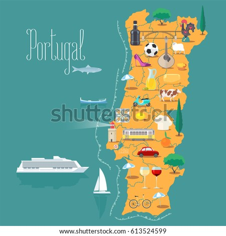 Map portugal vector illustration design icons stock vector for Cuisine design portugal