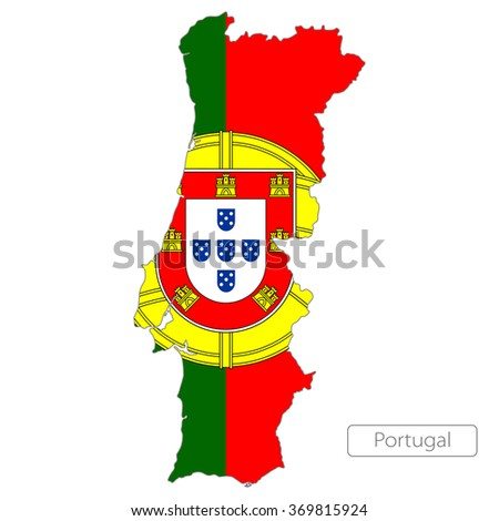 map of Portugal with the flag. Europe  - stock vector