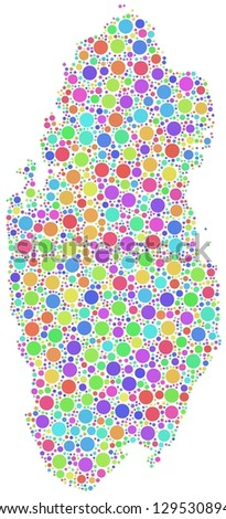 Map of Qatar - Middle East - in a mosaic of harlequin circles. White background