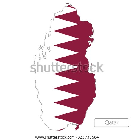 map of Qatar with the flag - stock vector