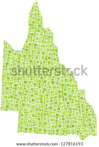 Map of Queensland - Australia - in a mosaic of green square. A number of 2199 squares are accurately inserted into the mosaic. White background.