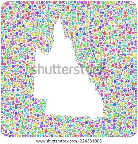 Map of Queensland - Australia - into a square icon. Mosaic of harlequin circles - stock vector