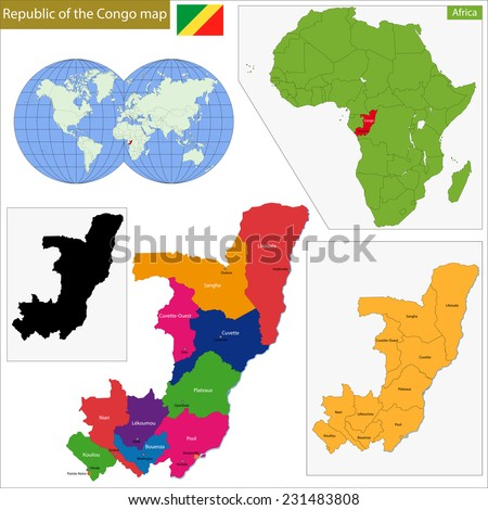 Map of Republic of the Congo with high detail and accuracy and it is divided into provinces which are colored with different bright colors - stock vector