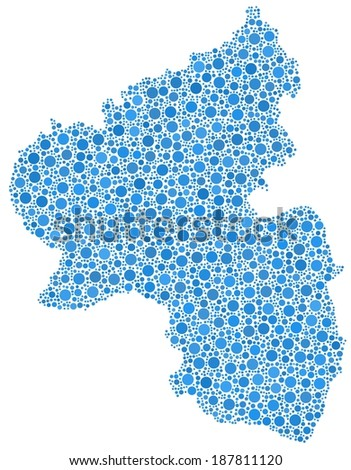 Map of Rhineland Palatinate - Germany - in a mosaic of blue bubbles
