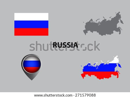 Map of Russia and symbol - stock vector