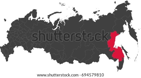 Map Russia Split Into Individual States Stock Vector 694579810