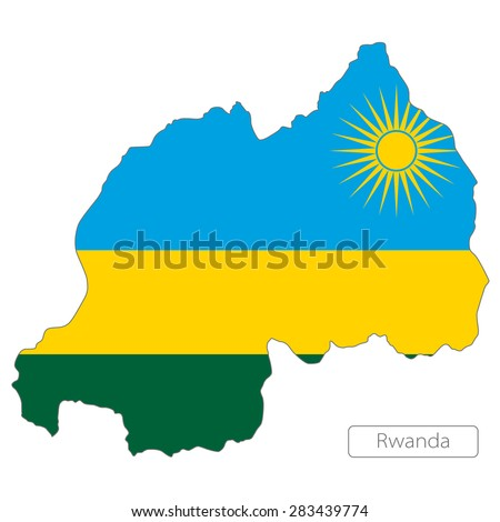 Map of Rwanda with an official flag. Illustration on white background - stock vector