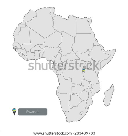 Map Rwanda Official Flag Location On Stock Vector 283439783