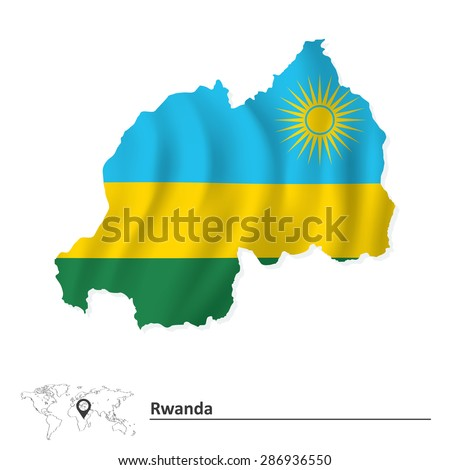 Map of Rwanda with flag - vector illustration - stock vector