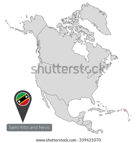 Map Saint Kitts Nevis Official Flag Stock Vector 339421070