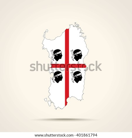 Map of Sardinia in Sardinia flag colors