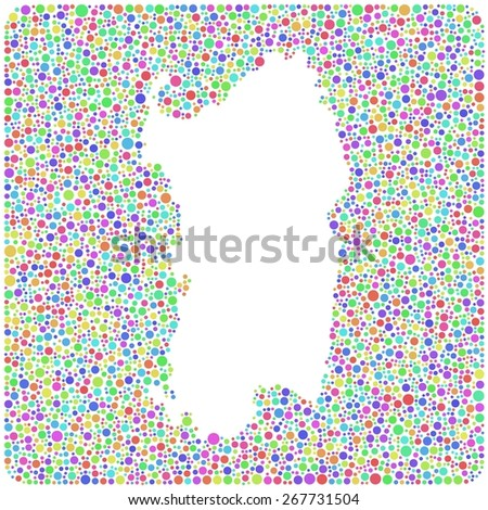Map of Sardinia - Italy - into a square icon. Mosaic of harlequin circles. White background - stock vector